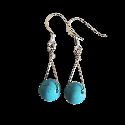 Turquoise Magnesite Single Drop Earrings
