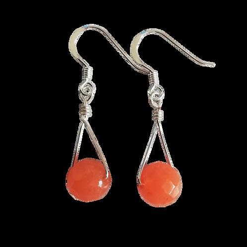 Orange Aventurine Single Drop Earrings