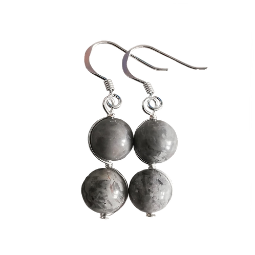 Grey Scenery Jasper Wire Wrapped Double Drop Earrings