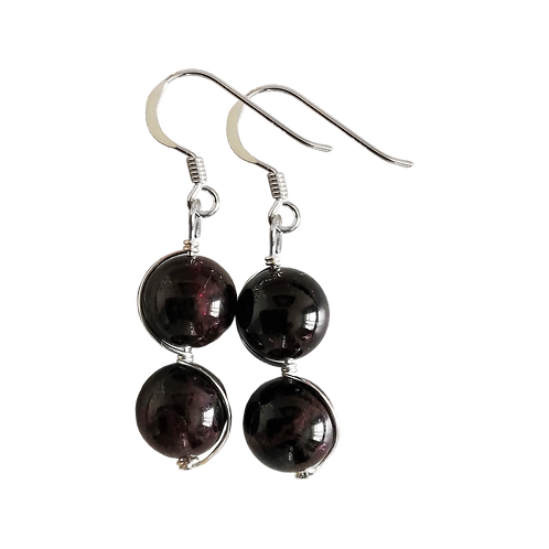 Dark Red Garnet Wire Wrapped Double Drop Earrings