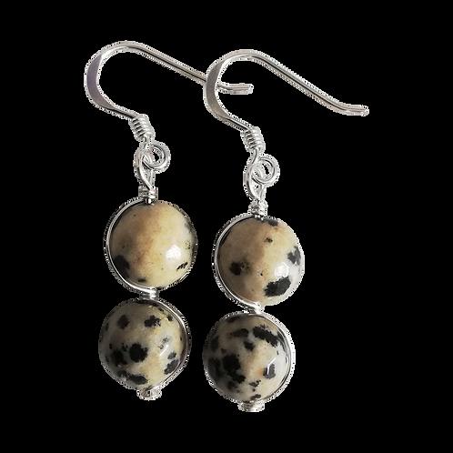 Dalmatian Jasper Wire Wrapped Double Drop Earrings