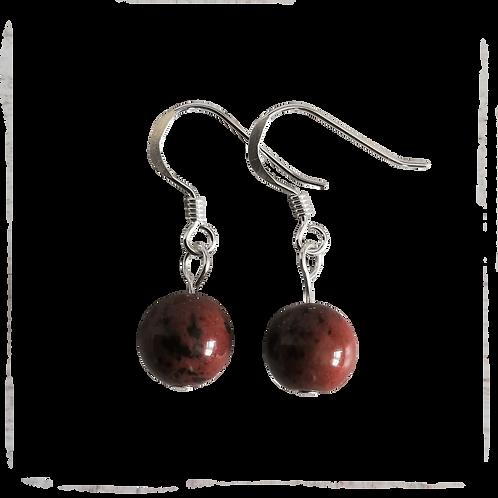 Mahogany Obsidian Short Drop Earrings