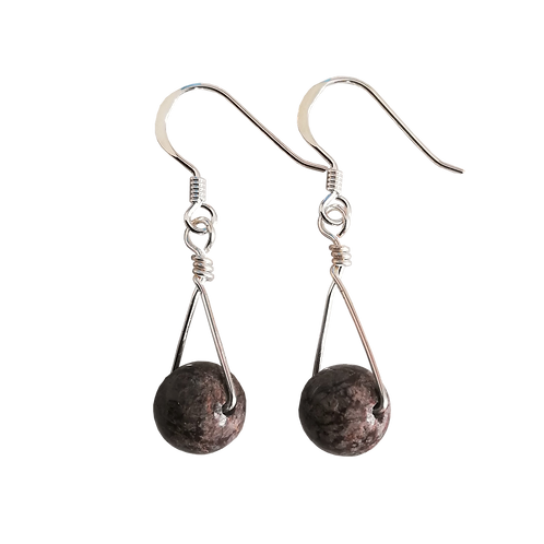 Brown Snowflake Obsidian Single Drop Earrings