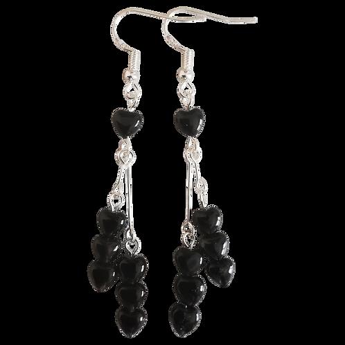 Black Onyx Heart Long Drop Earrings