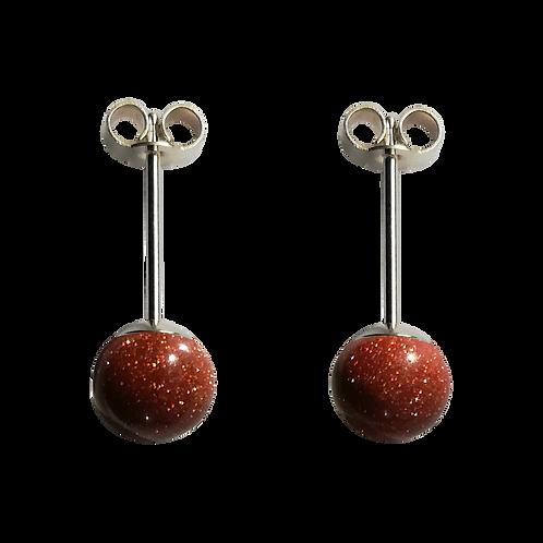 Brown Goldstone Stud Earrings