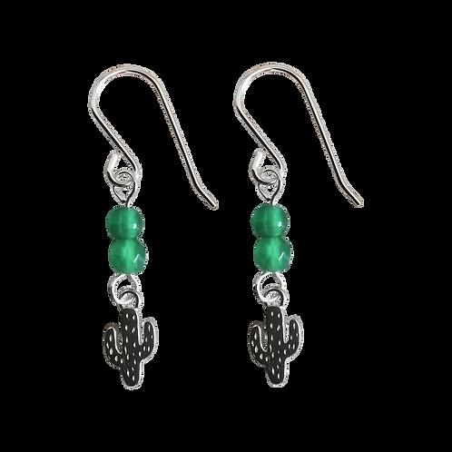 Silver Cactus Charm & Gemstone Earrings