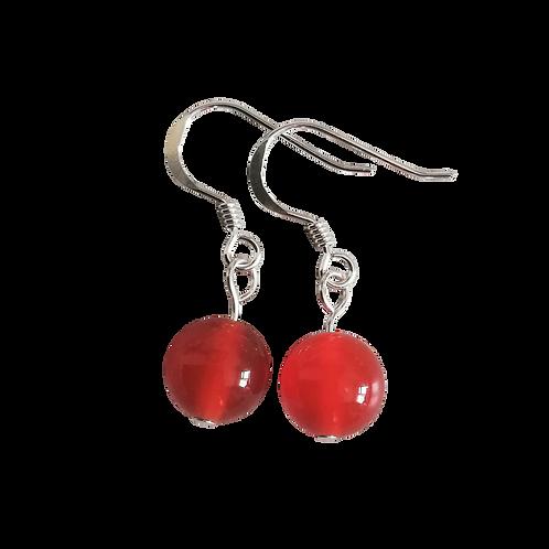 Red Carnelian Short Drop Earrings