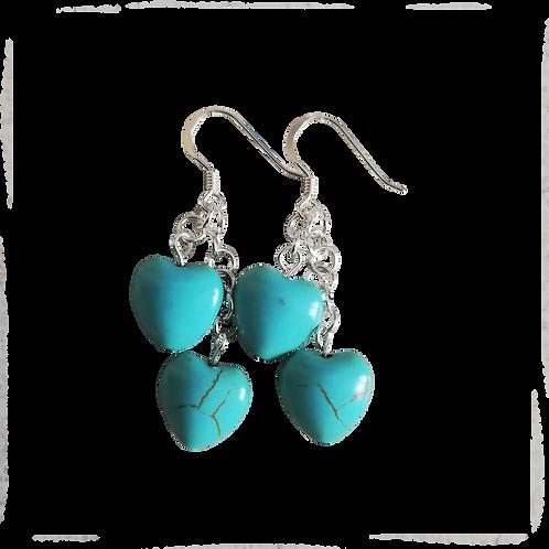 Turquoise Howlite Heart Earrings