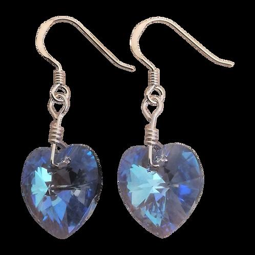 Short Drop Earrings with Light Sapphire Shimmer Swarovski® Xilion Hearts