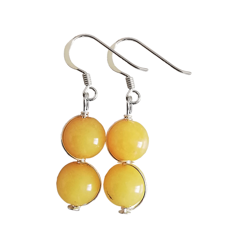 Amber Nephrite Jade Wire Wrapped Double Drop Earrings