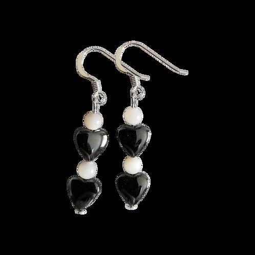 Hematite Heart & Mother of Pearl Earrings