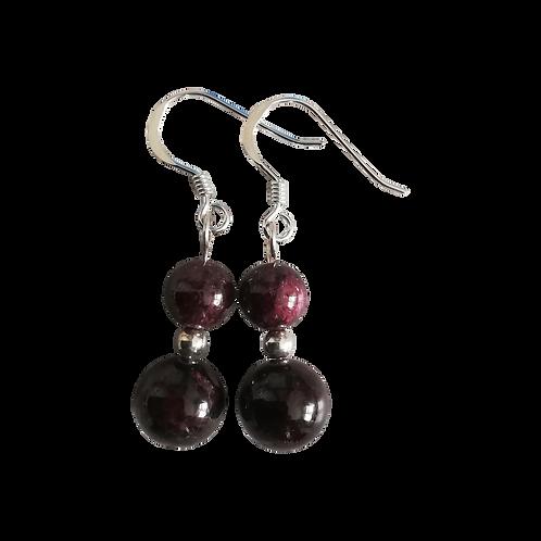 Dark Red Garnet Mixed Drop Earrings