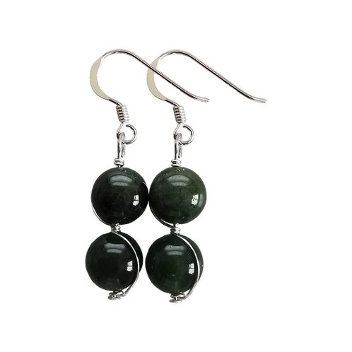 Green Moss Agate Wire Wrapped Double Drop Earrings