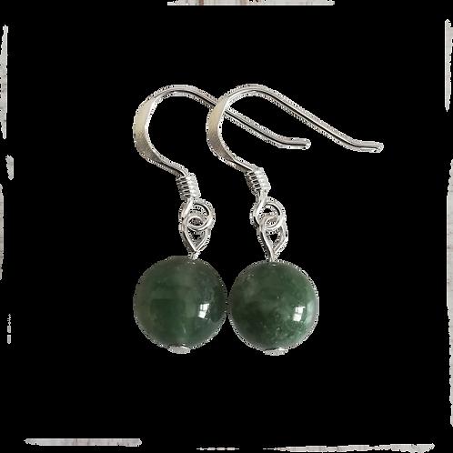Green Moss Agate Short Drop Earrings