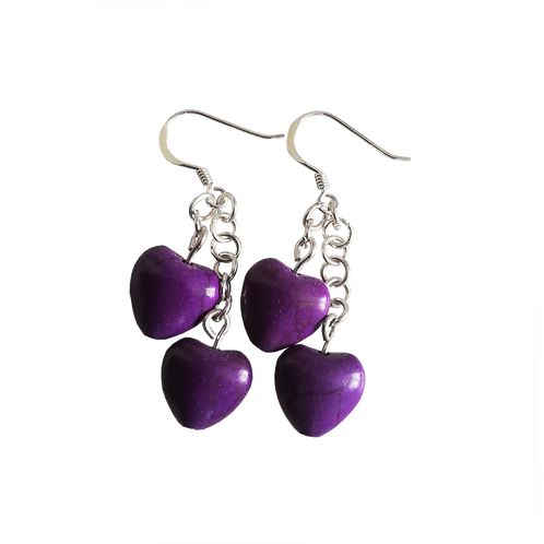 Purple Howlite Heart Earrings