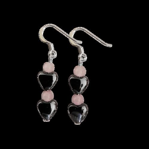 Hematite Heart & Rose Quartz Earrings