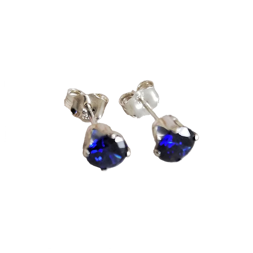 Dark Blue Cubic Zirconia Stud Earrings