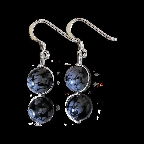 Black Snowflake Obsidian Wire Wrapped Double Drop Earrings