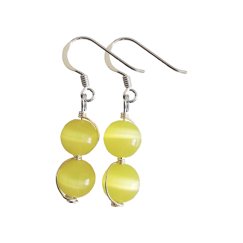 Yellow Cats Eye Wire Wrapped Double Drop Earrings