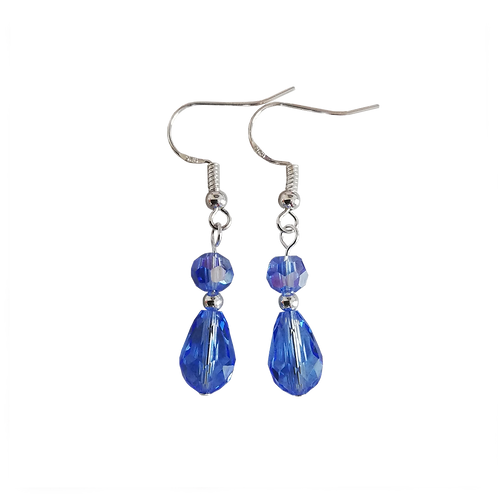 Blue Czech Crystal Briolette Drop Earrings