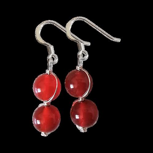 Red Carnelian Wire Wrapped Double Drop Earrings