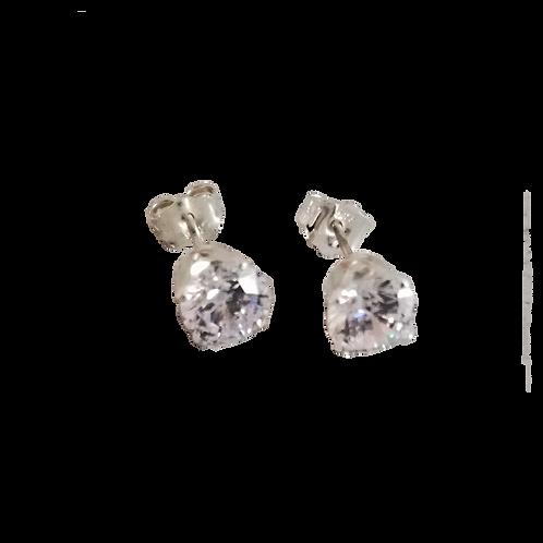 White Cubic Zirconia Stud Earrings