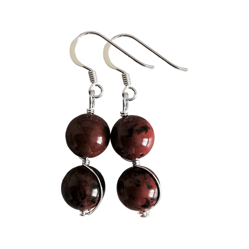 Mahogany Obsidian Wire Wrapped Double Drop Earrings