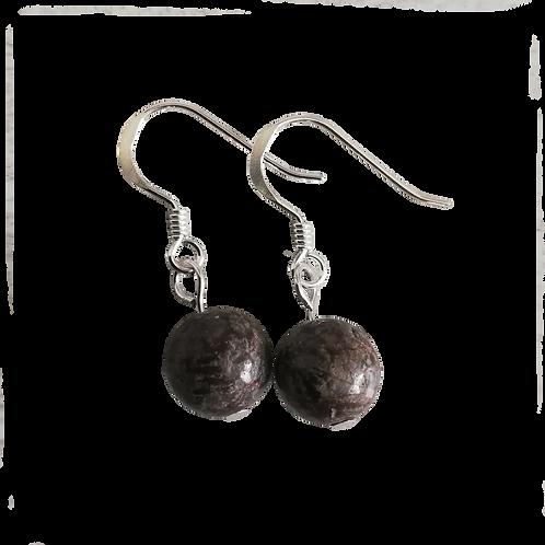 Brown Snowflake Obsidian Short Drop Earrings