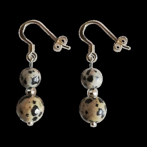 Dalmatian Jasper Mixed Drop Earrings