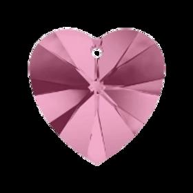 Short Drop Earrings with Light Rose Swarovski® Xilion Hearts