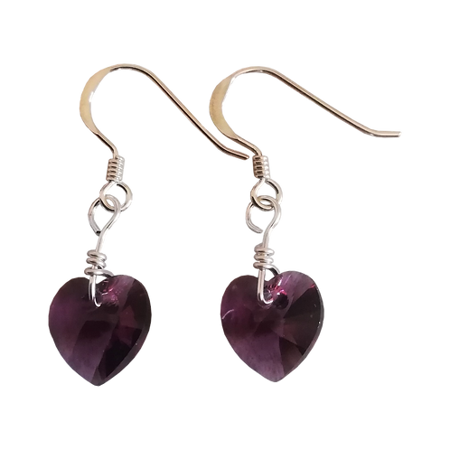 Short Drop Earrings with Amethyst Swarovski® Xilion Hearts