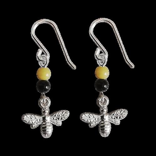 Silver Bee Charm & Gemstone Earrings