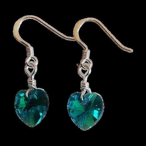 Short Drop Earrings with Blue Zircon AB Swarovski® Xilion Hearts