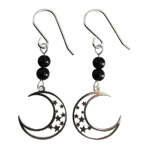 Silver Moon & Stars Charm & Gemstone Earrings