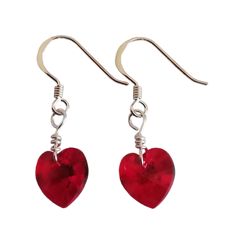 Short Drop Earrings with Siam Swarovski® Xilion Hearts