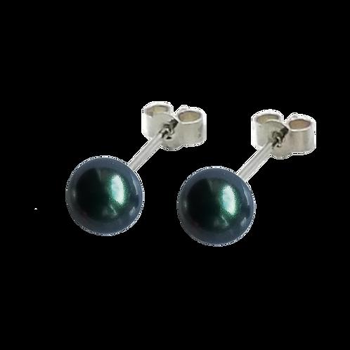 Tahitian Green Swarovski® Crystal Pearl Stud Earrings