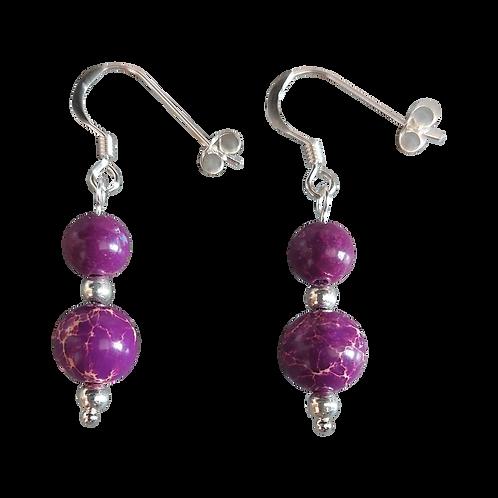 Purple Impression Jasper Mixed Drop Earrings