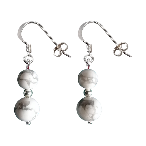 White/Grey Howlite Mixed Drop Earrings