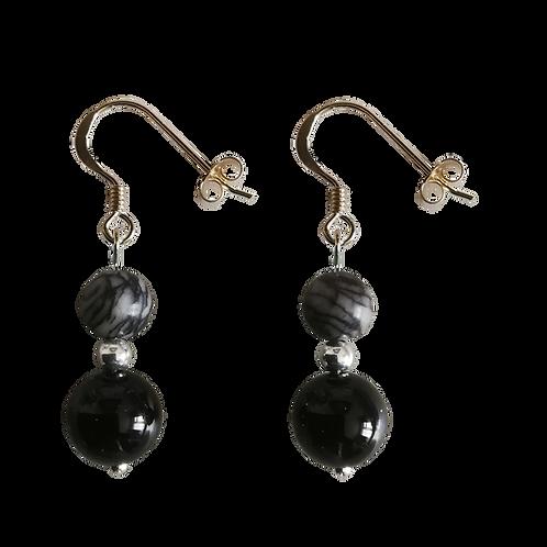 Onyx & Black Veined Jasper Mixed Drop Earrings