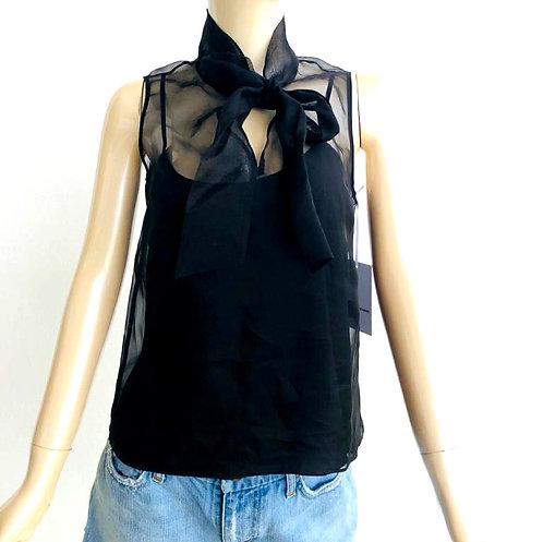 Blusa negra de Organza Amanda Uprichard