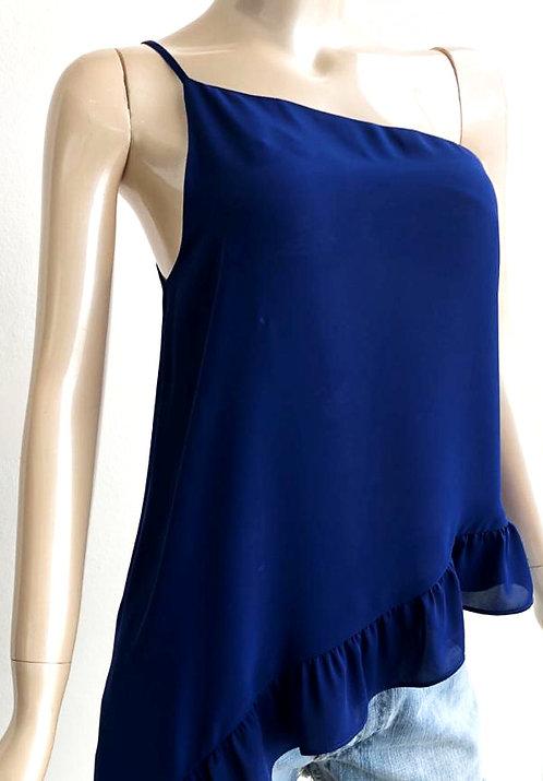 Blusa asimétrica azul