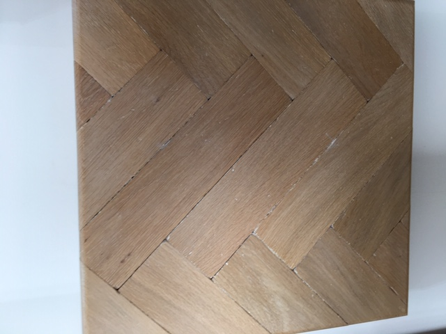 Sample - tumbled reclaimed oak herringbo