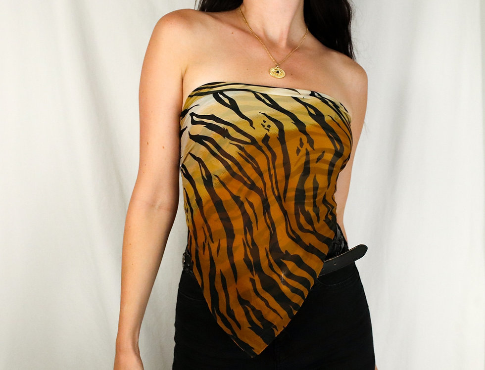 Tiger Stripe Silk Scarf Top (O)