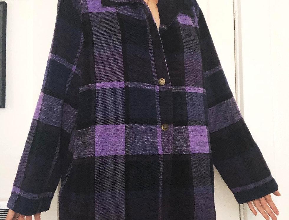 Large Print Plaid Flannel Jacket (XL)