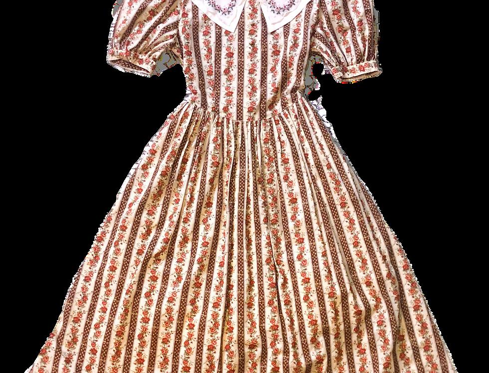 Prairie Style Floral Puff Sleeve Dress (S-M)