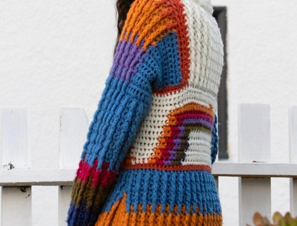 70's | Handmade Rainbow Large Knit Sweater