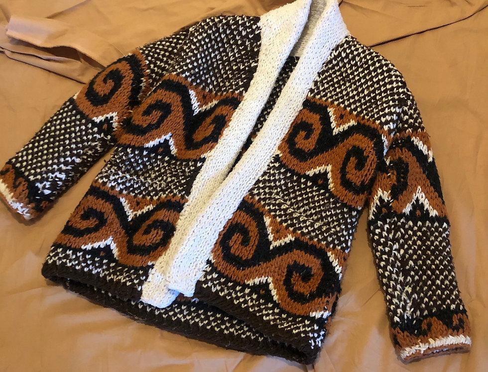 Handmade Mocha Wave Knit Sweater (S)