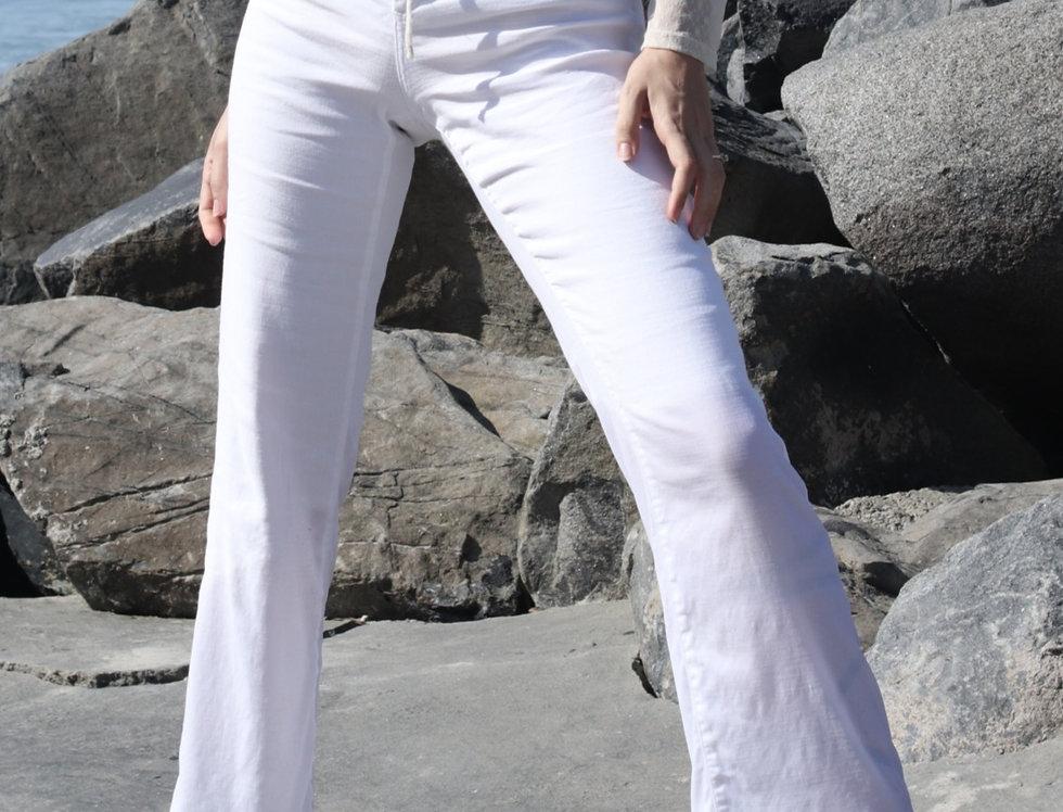 NYDJ | High Rise White Linen Trouser