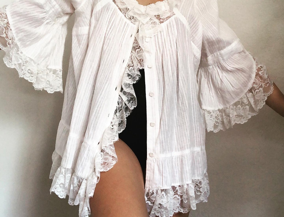 Lace Bell Sleeve Night Shirt (L)