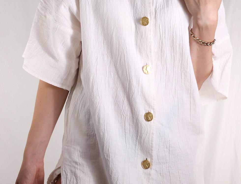 Linen Nefertiti Wide Sleeve Tunic (L)